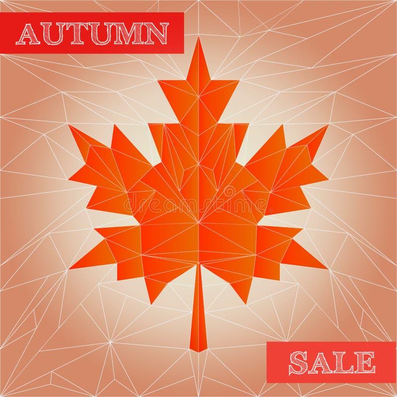 Cartaz poligonal da venda do outono do vetor ilustração do vetor