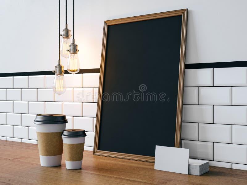 Cartaz preto com elementos brancos vazios 3d fotografia de stock royalty free