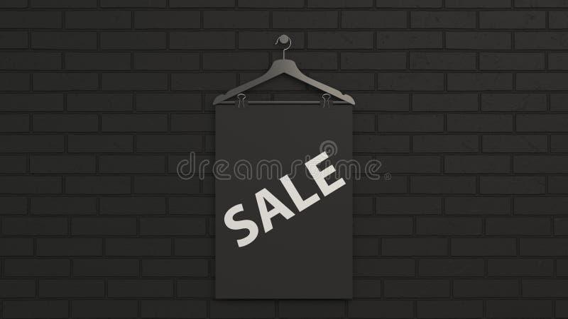 Cartaz preto da venda no gancho ilustração royalty free