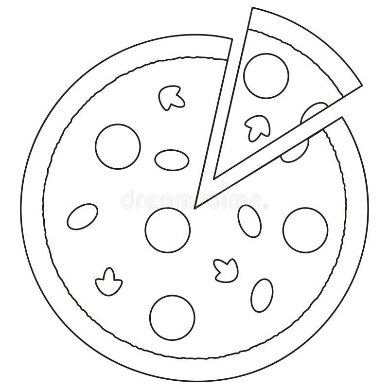 Cartaz preto e branco do ícone do fast food da fatia da pizza ilustração do vetor