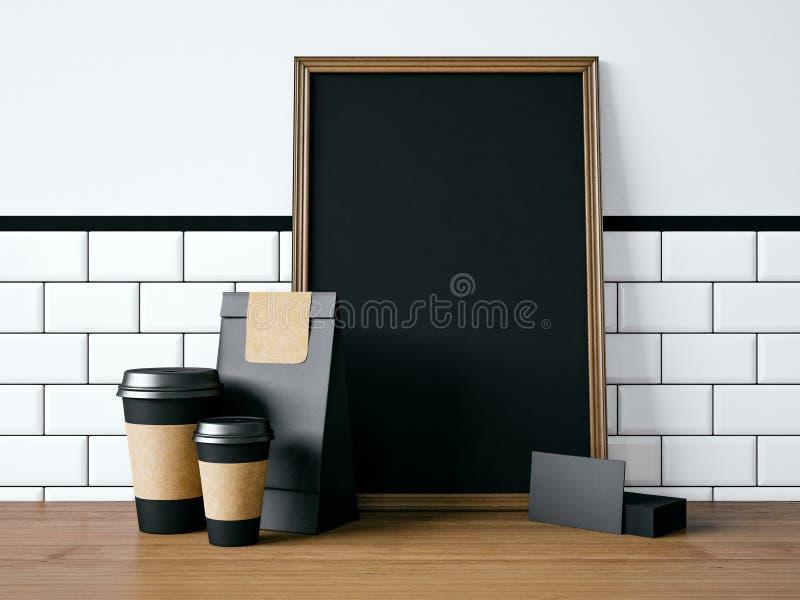 Cartaz preto na tabela com elementos vazios 3d imagens de stock