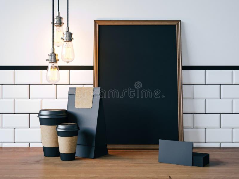 Cartaz preto na tabela com elementos vazios e fotografia de stock