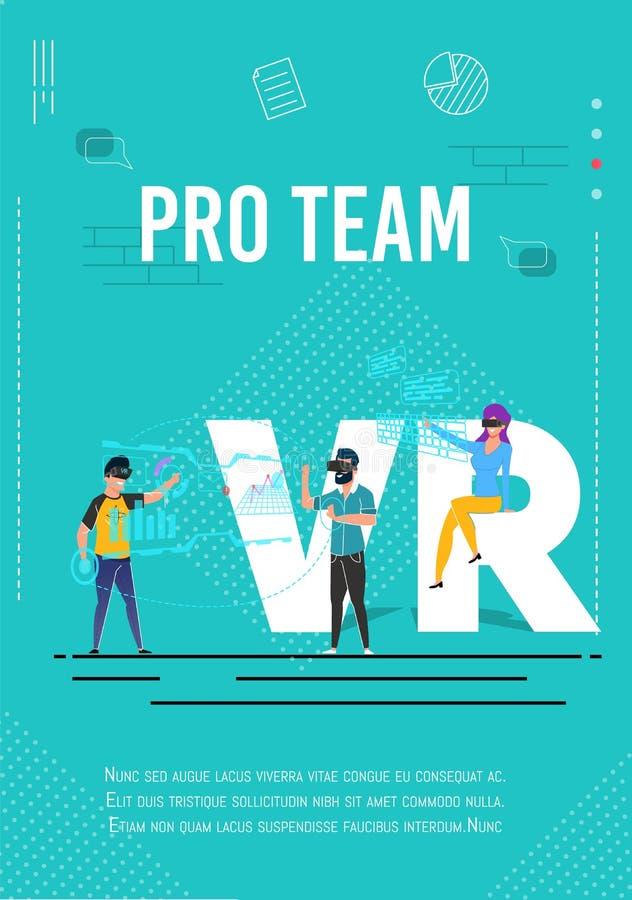 Cartaz profissional da equipe VR dos Gamers com texto do Promo ilustração stock