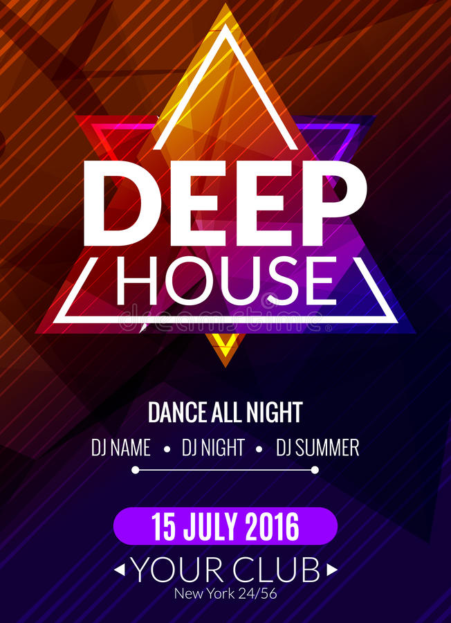 Cartaz profundo eletrônico da música da casa do clube Inseto musical do DJ do evento Som do transe do disco Partido da noite ilustração royalty free