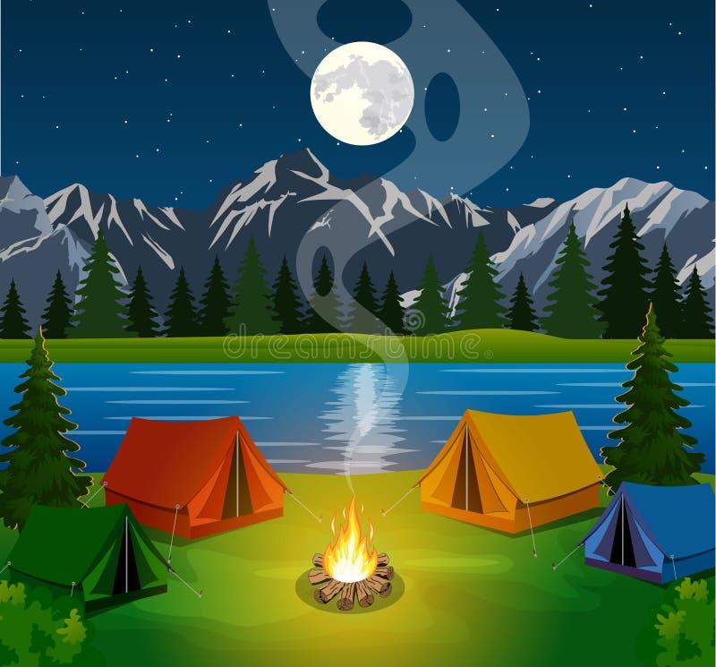 Cartaz que mostra o acampamento com uma fogueira ilustração stock
