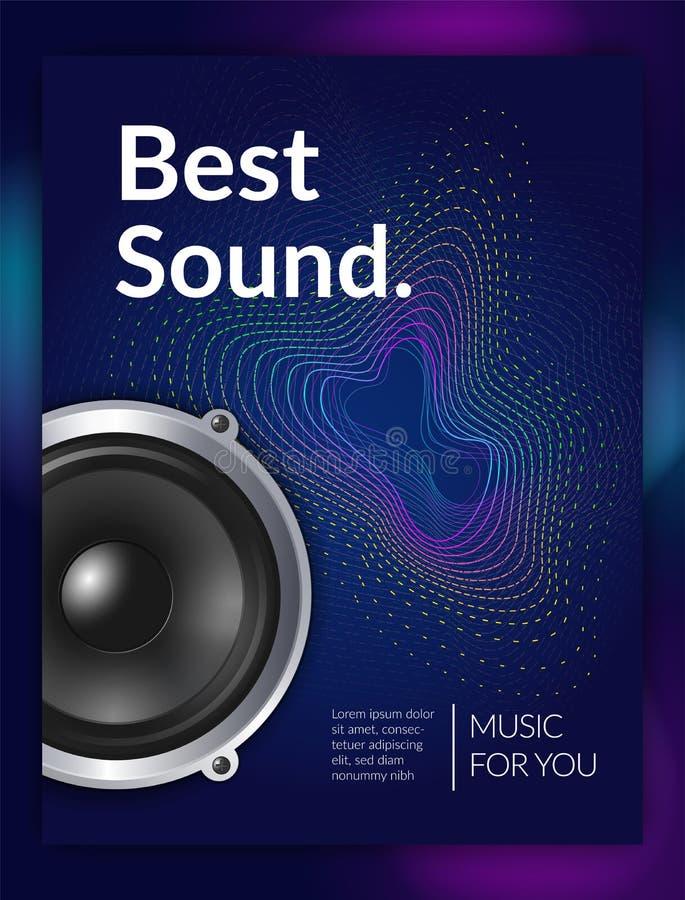 Cartaz realístico do equipamento audio ilustração do vetor