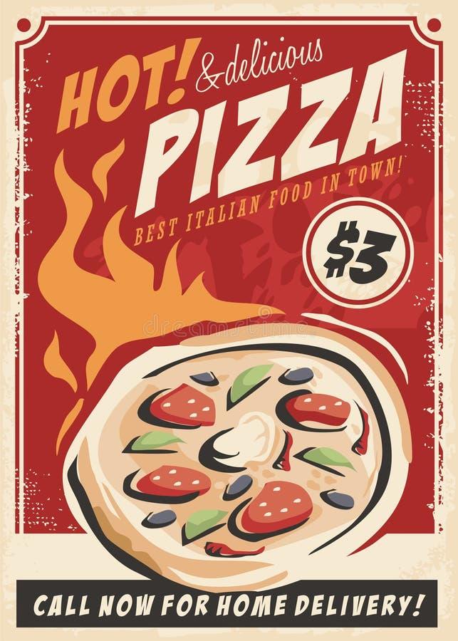 Cartaz relativo à promoção da pizza para o restaurante italiano ilustração stock
