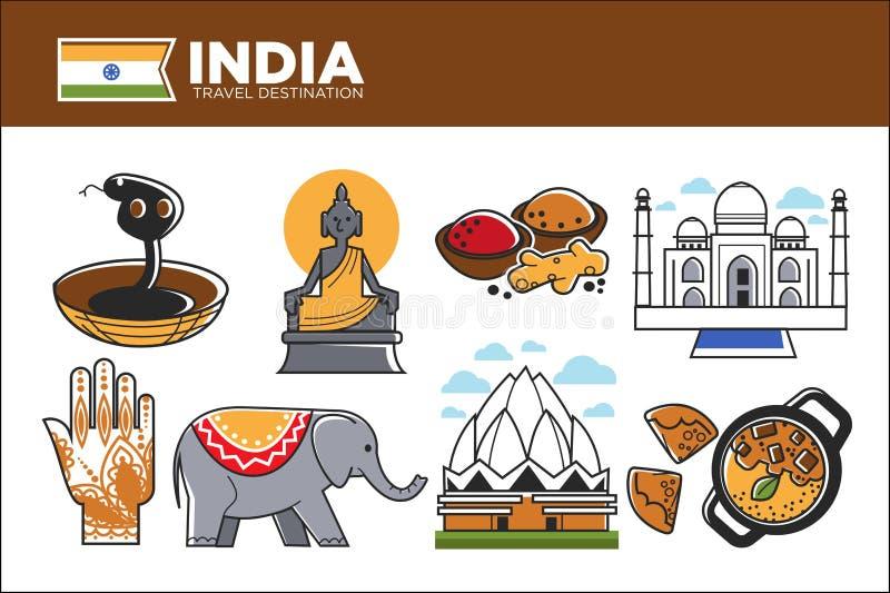 Cartaz relativo à promoção do destino do curso da Índia com símbolos do país ilustração stock