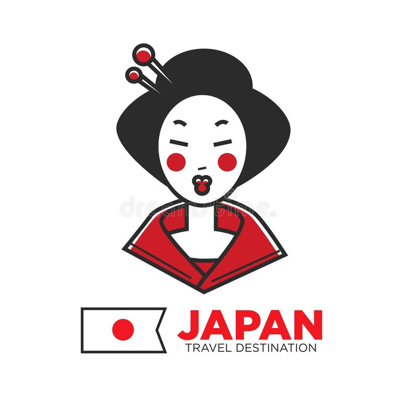 Cartaz relativo à promoção do destino do curso de Japão com gueixa bonita ilustração royalty free