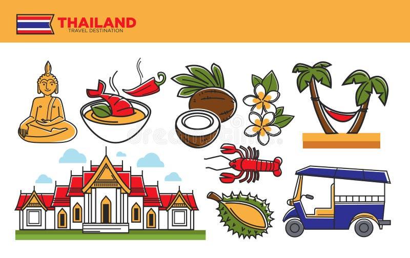 Cartaz relativo à promoção do destino do curso de Tailândia com símbolos culturais ilustração do vetor