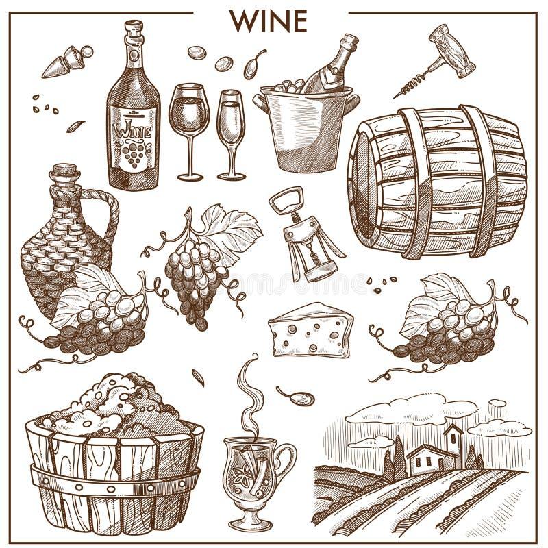Cartaz relativo à promoção do vinho em cores do sepia com uvas e garrafas ilustração do vetor
