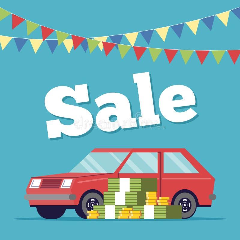 Cartaz relativo à promoção que vende carros na sala de exposições executada no estilo liso ilustração royalty free
