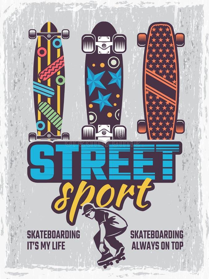 Cartaz retro com ilustrações de skates coloridos ilustração stock