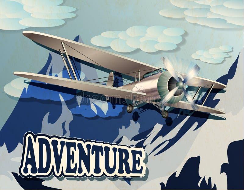 Cartaz retro com montanha e biplano do vintage ilustração do vetor