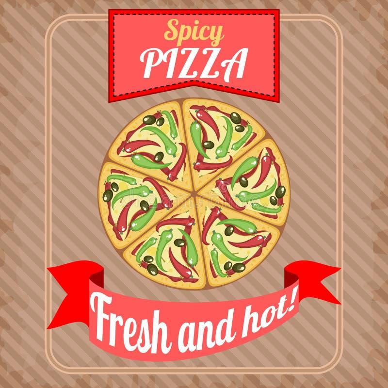 Cartaz retro com pizza picante ilustração do vetor