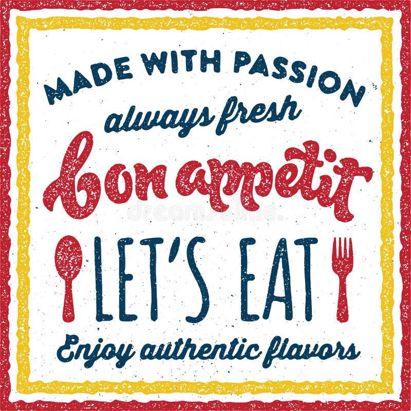 Cartaz retro da cópia do vintage do appetit do Bon ilustração stock