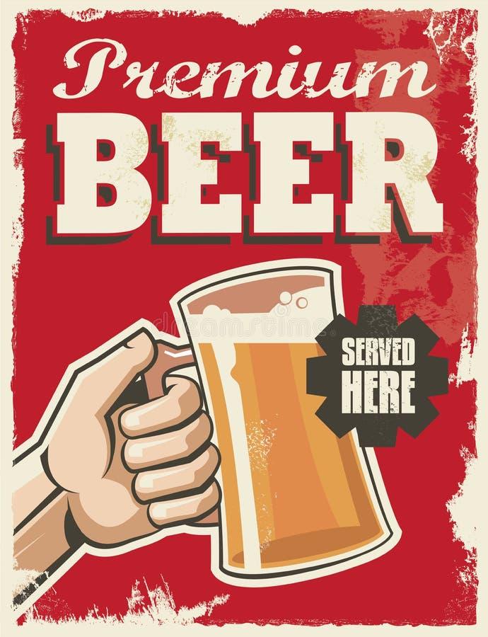 Cartaz retro da cerveja do vintage ilustração stock
