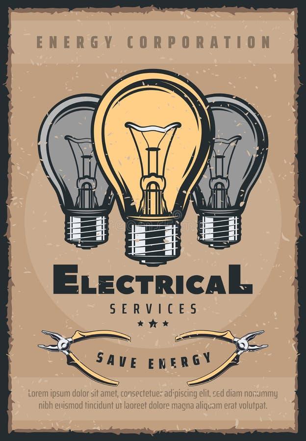 Cartaz retro da eletricidade elétrica dos bulbos dos serviços ilustração stock