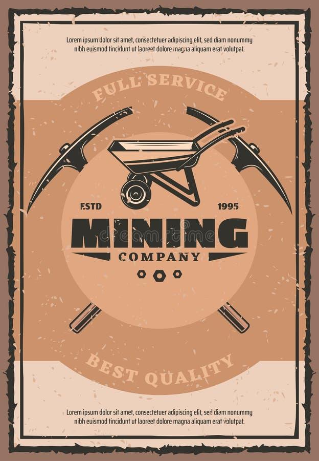 Cartaz retro da empresa mineira com a ferramenta do trabalho do mineiro ilustração do vetor