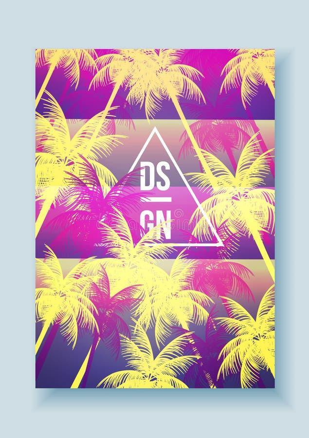 Cartaz retro das férias de verão do mosaico da palmeira tropical - vetor mim ilustração do vetor
