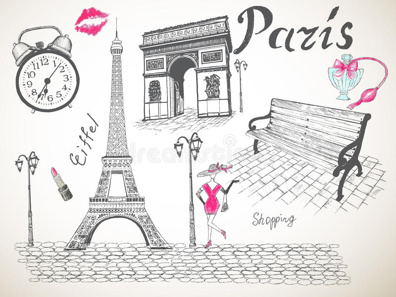Cartaz retro de Paris ilustração do vetor
