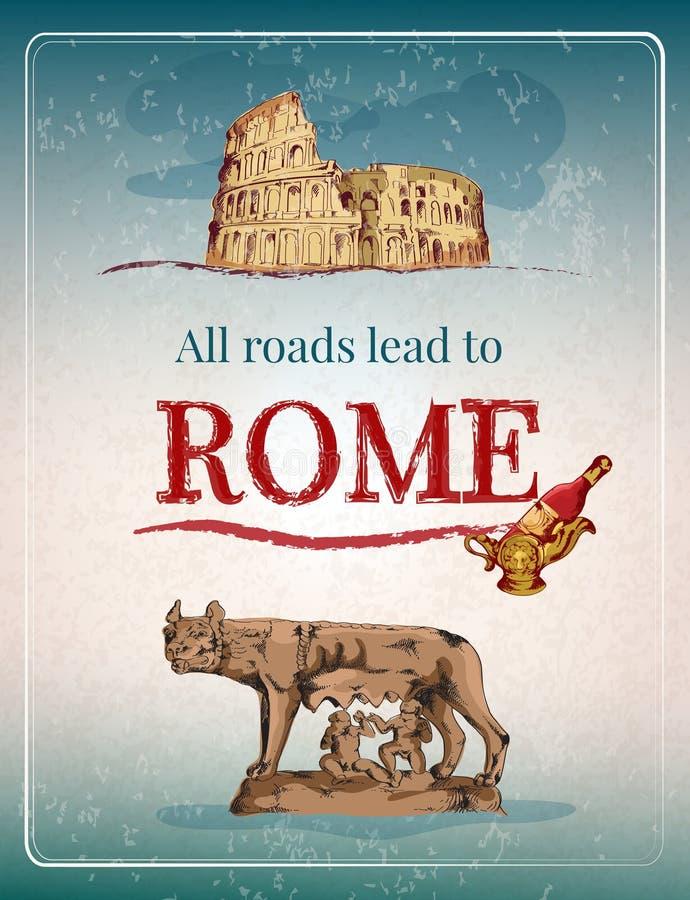 Cartaz retro de Roma ilustração stock