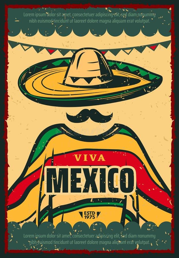 Cartaz retro de Viva Mexico para o feriado de Cinco de Mayo ilustração do vetor