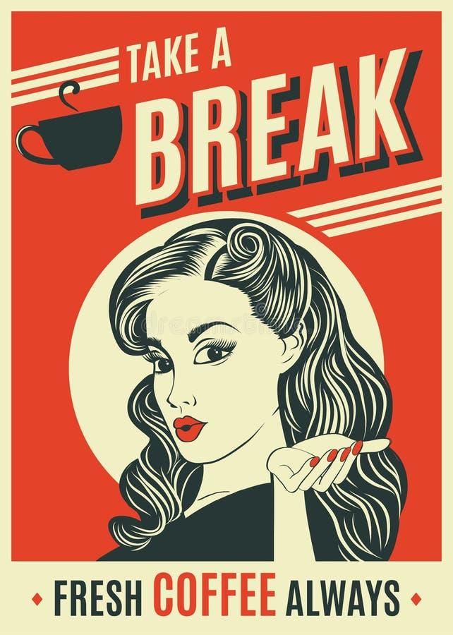 Cartaz retro do café da propaganda com mulher do pop art ilustração stock