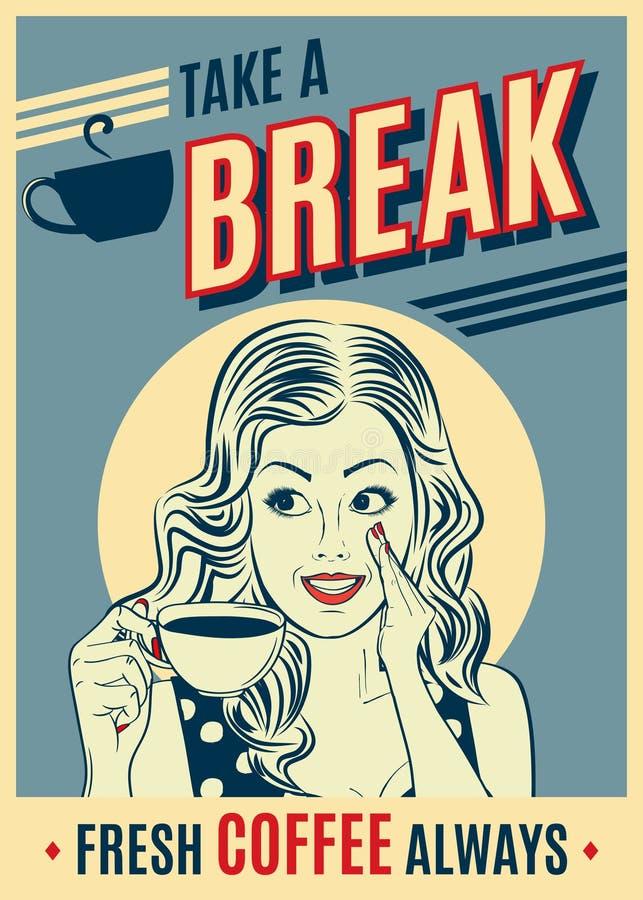 Cartaz retro do café da propaganda com mulher do pop art ilustração royalty free