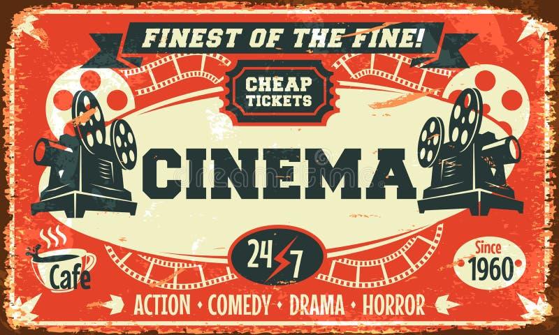 Cartaz retro do cinema do Grunge ilustração do vetor