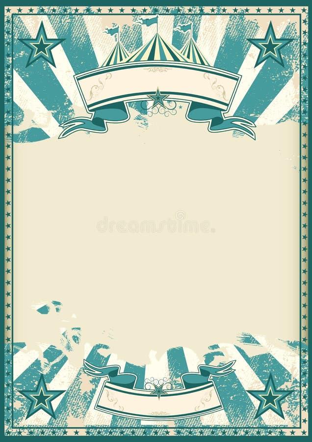 Cartaz retro do circo azul ilustração stock