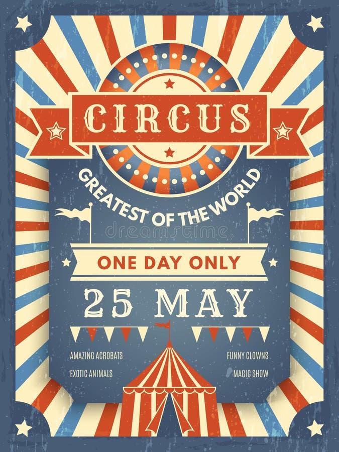 Cartaz retro do circo Melhor no cartaz do anúncio da mostra com imagem do tema do vetor do artista do evento da tenda do circus ilustração royalty free