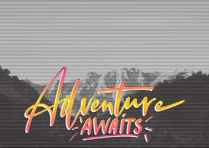 Cartaz retro do conceito do curso A aventura espera - rotulação escrita à mão, citações das férias de verão ilustração stock