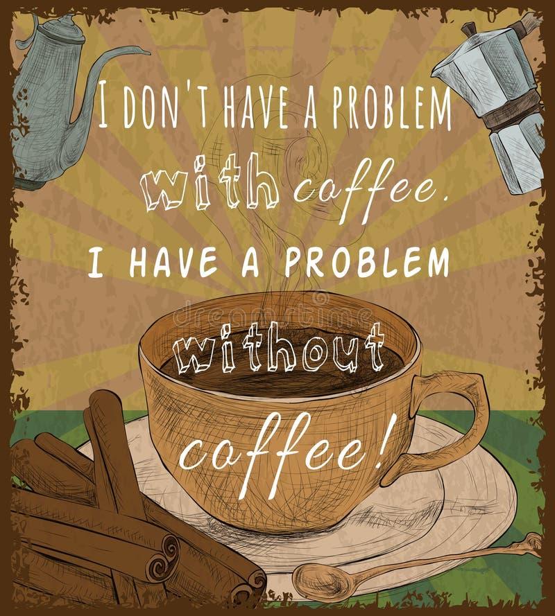 Cartaz retro do copo de café ilustração stock