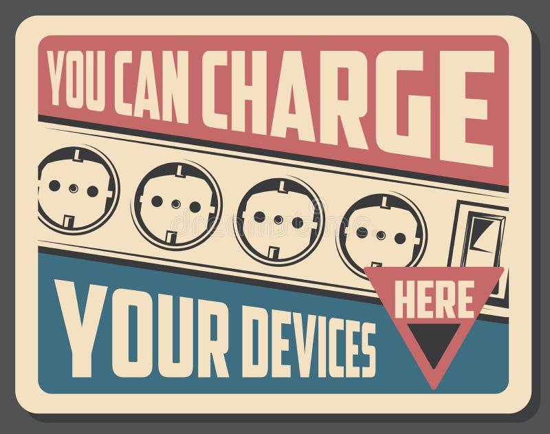 Cartaz retro do dispositivo da carga com soquetes ilustração royalty free