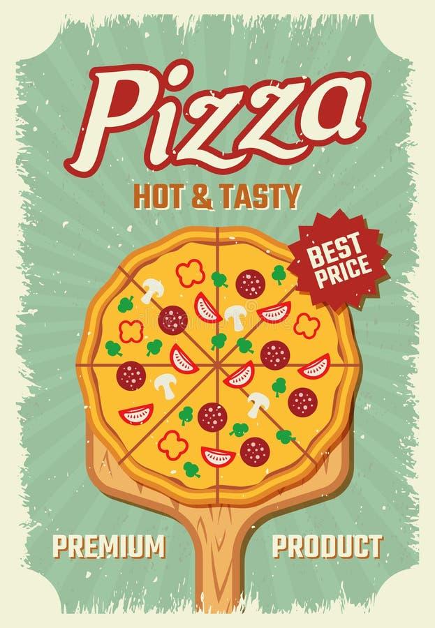 Cartaz retro do estilo da pizza ilustração royalty free