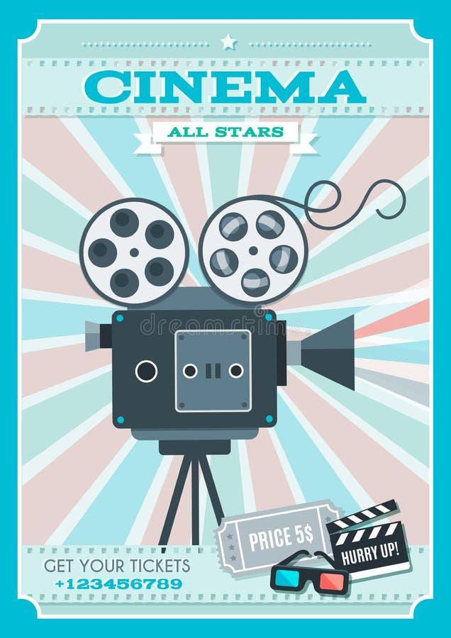 Cartaz retro do estilo do cinema ilustração stock