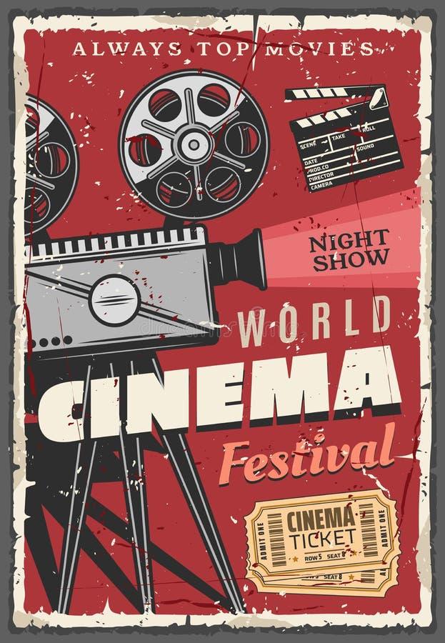 Cartaz retro do festival do cinema, câmara de vídeo do vintage ilustração do vetor