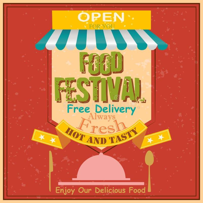Cartaz retro do festival do alimento ilustração stock