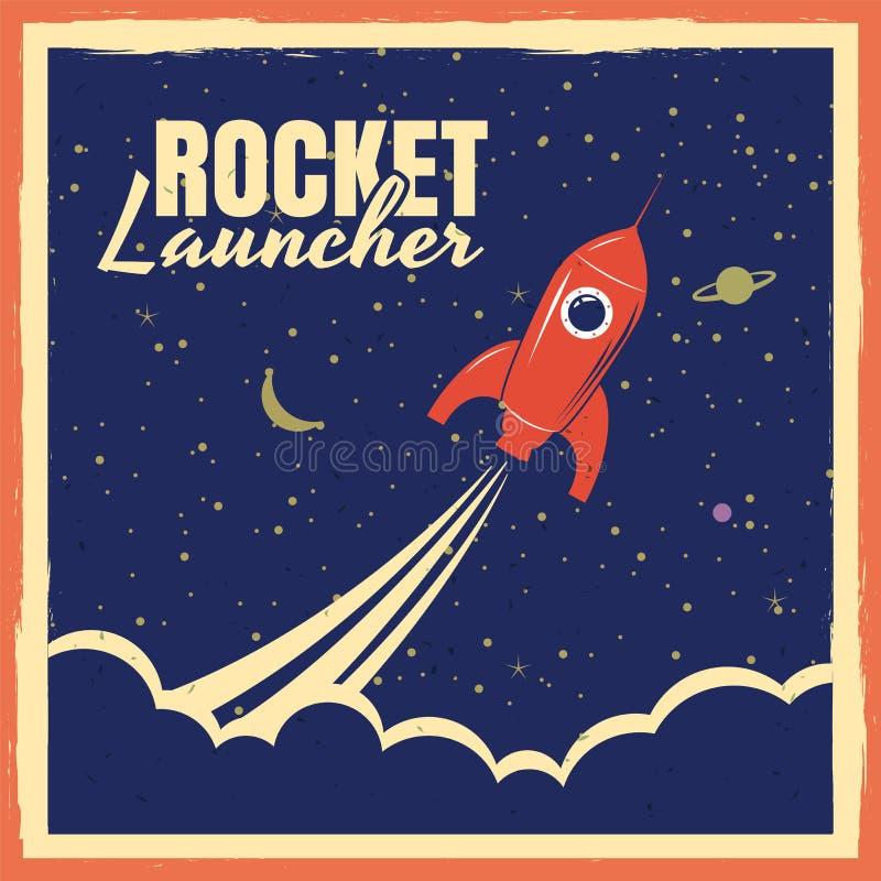 Cartaz retro do foguete startup da lança-foguetes com cores do vintage e efeito do grunge Vetor, ilustração, isolada ilustração do vetor