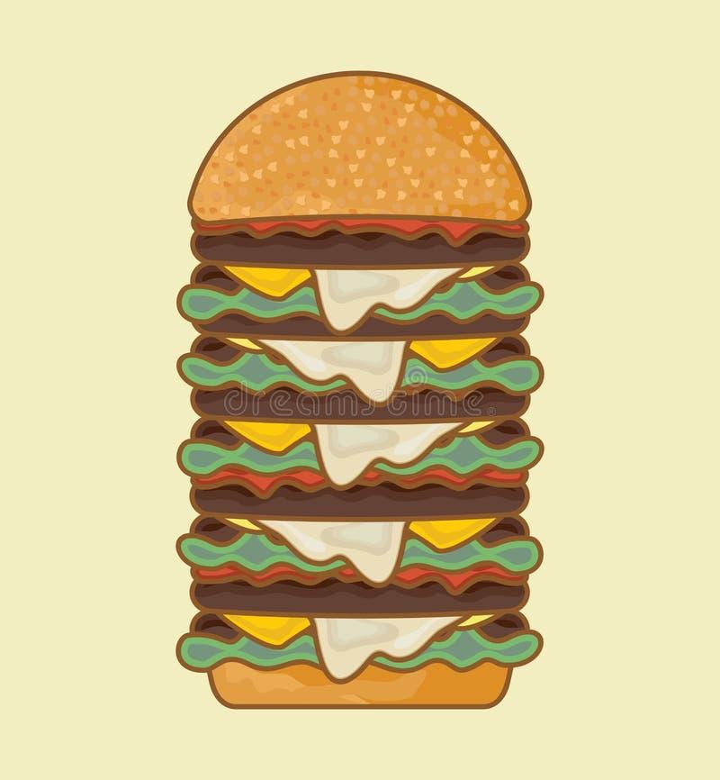 Cartaz retro do Hamburger ilustração royalty free