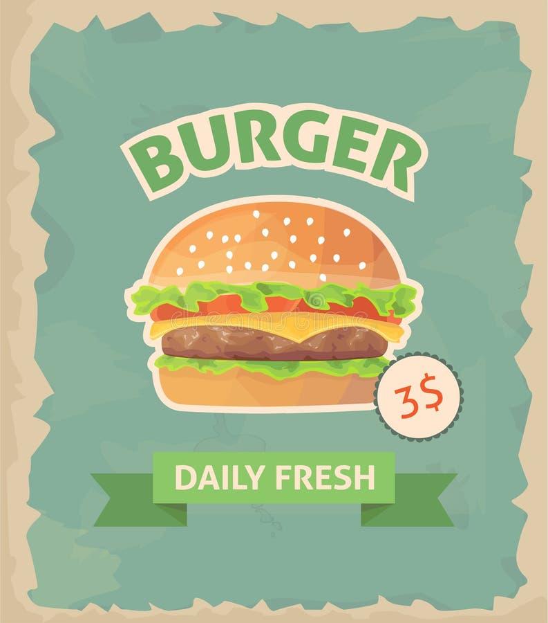 Cartaz retro do hamburguer ilustração do vetor