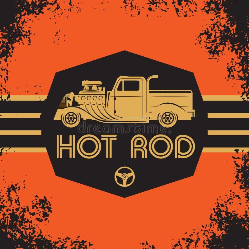 Cartaz retro do hot rod ilustração do vetor