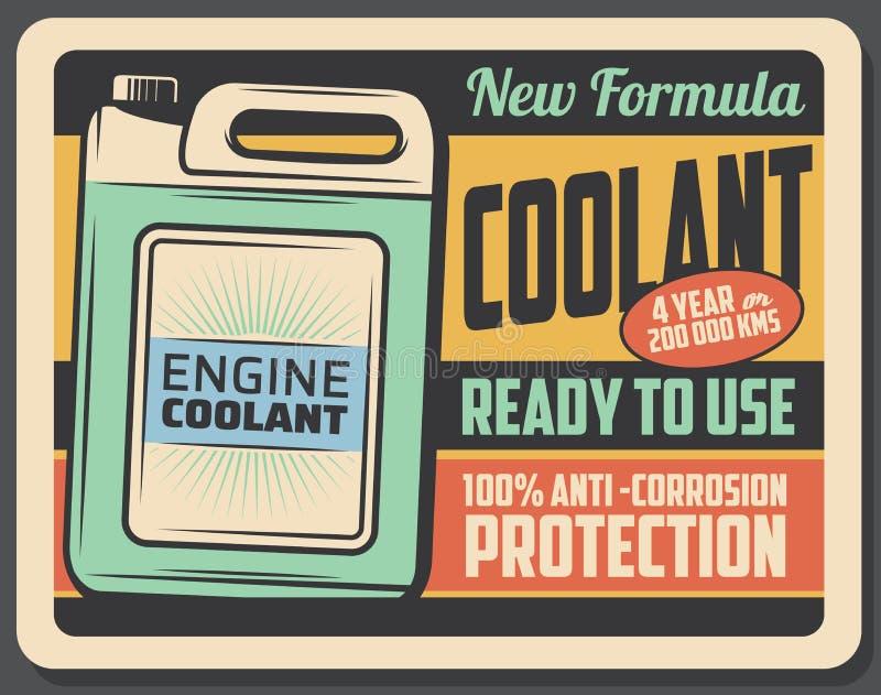 Cartaz retro do líquido refrigerante do motor, manutenção do carro ilustração stock