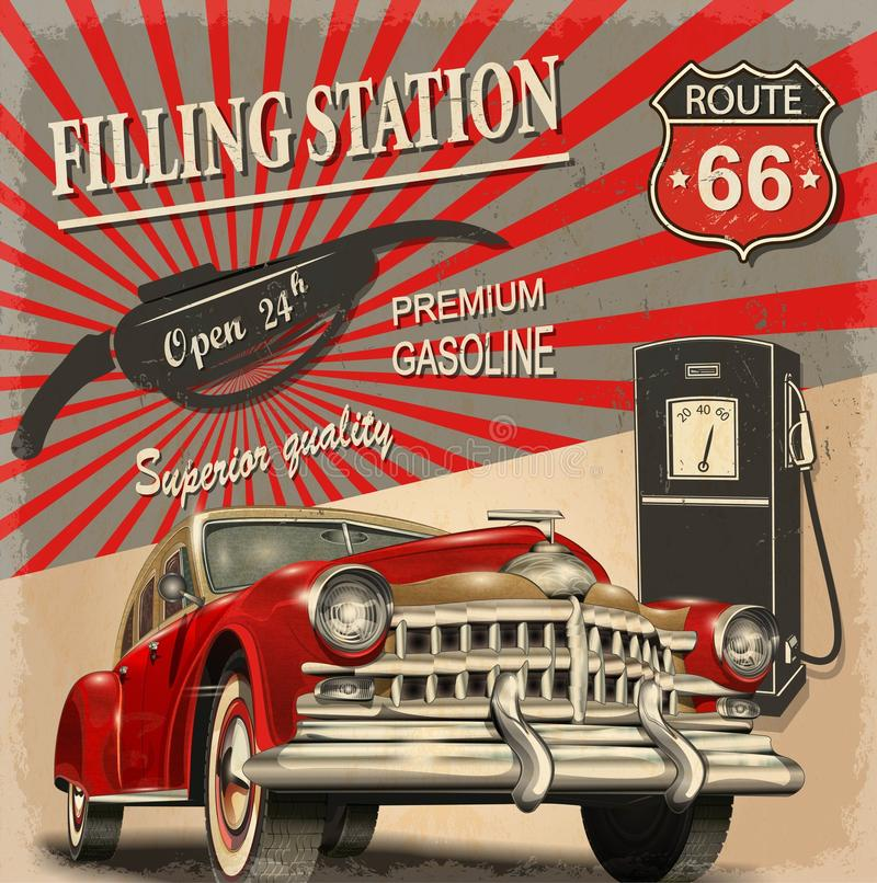 Cartaz retro do posto de gasolina fotografia de stock
