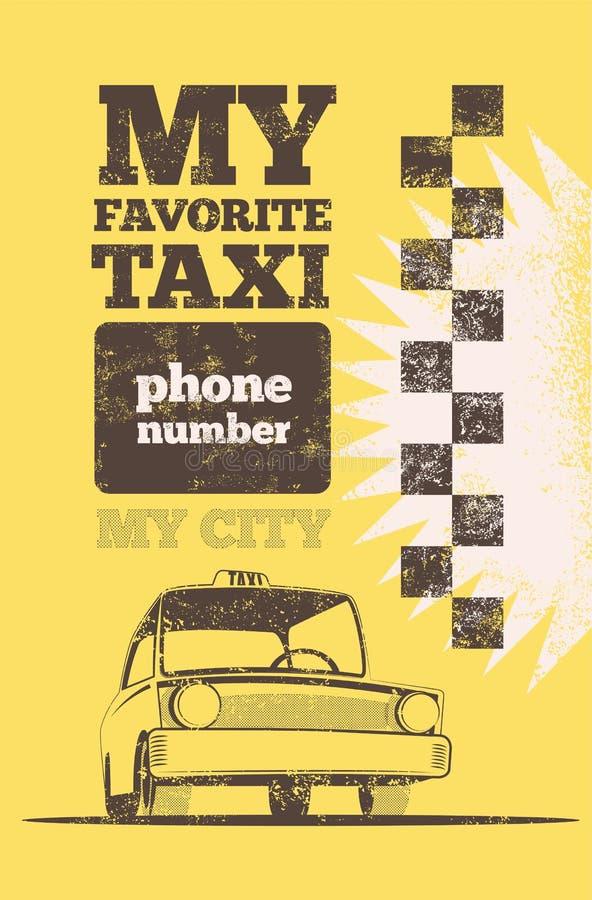 Cartaz retro do táxi de táxi ilustração do vetor