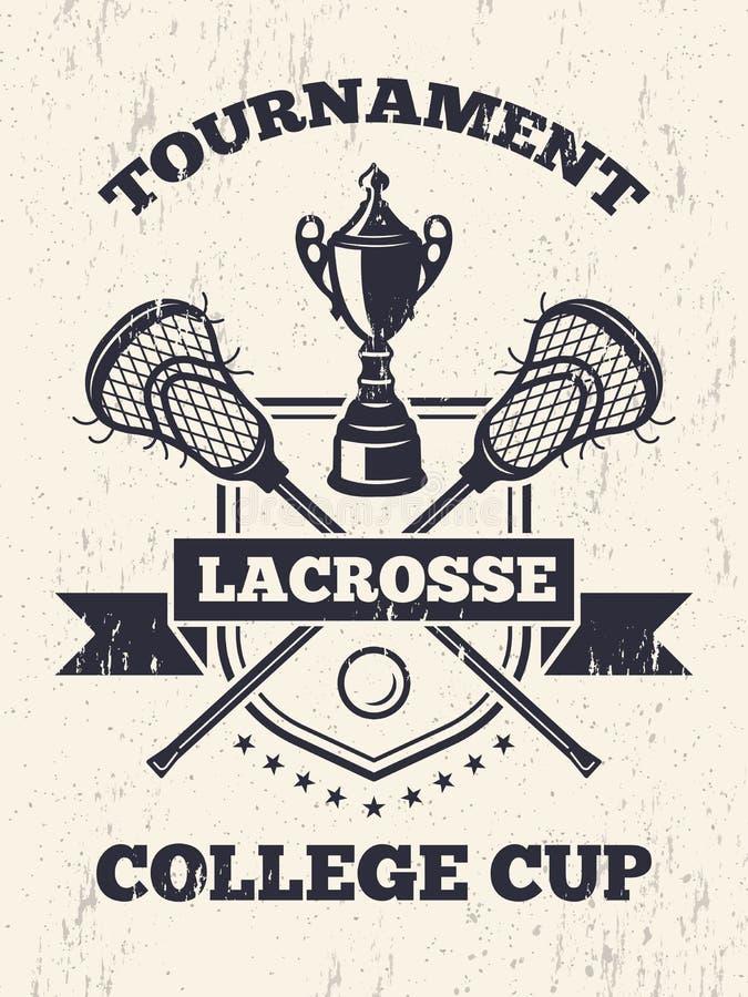 Cartaz retro do tema da lacrosse na faculdade do esporte ilustração royalty free