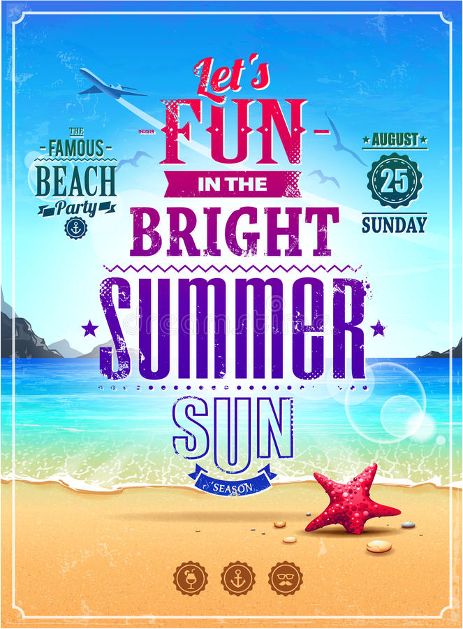 Cartaz retro do verão ilustração stock