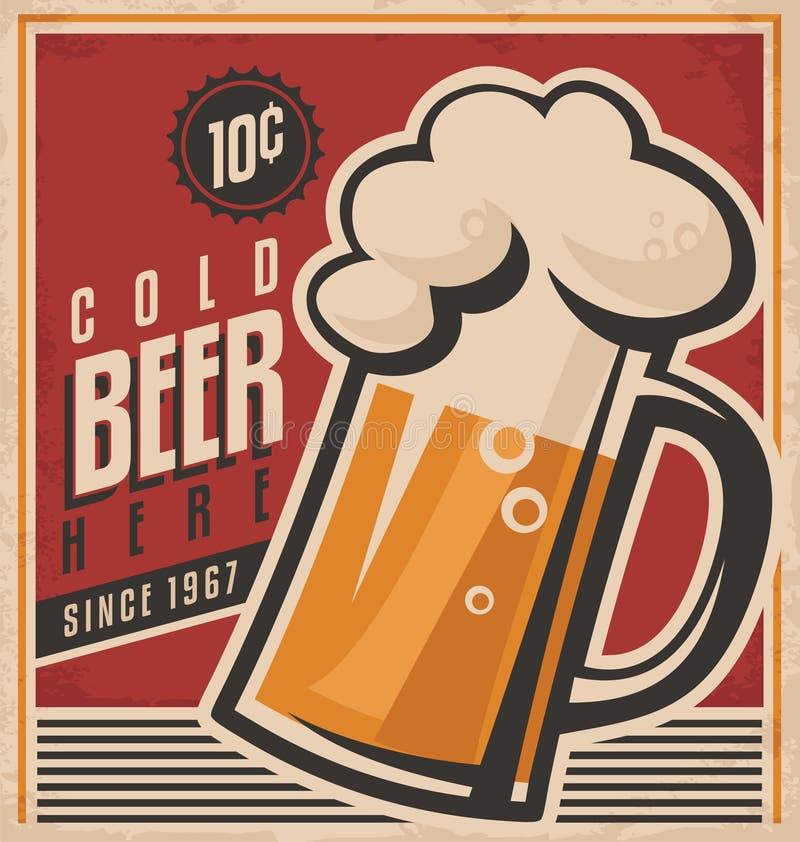 Cartaz retro do vetor da cerveja ilustração royalty free
