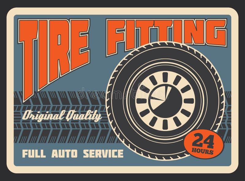 Cartaz retro do vetor para o encaixe do pneu de carro ilustração stock